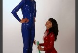 Free porn pics of Latex Catsuit Sissi and Kianna in foil 1 of 37 pics