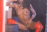 Free porn pics of Ebony in red boots 1 of 50 pics