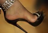 Free porn pics of My brand new black platform sandals in nylon feet 1 of 3 pics