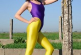 Free porn pics of Mila in Shiny Purple and Yellow Spandex 1 of 88 pics